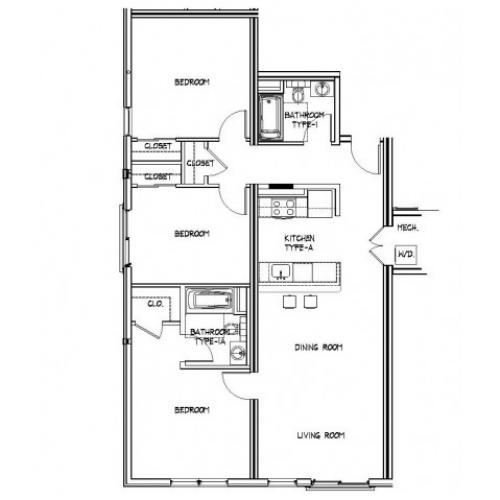Floor Plan 23 | Luxury Apartments In Allston MA | Trac 75
