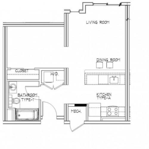 Studio Floor Plan | Apartments In Allston MA | Trac 75