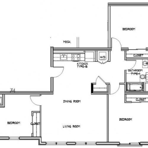 Floor Plan 25 | Allston Apartments | Trac 75