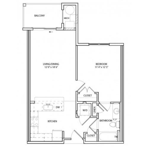 Floor Plan 1 | Luxury Apartments In Baltimore, MD | Overlook at Franklin Square