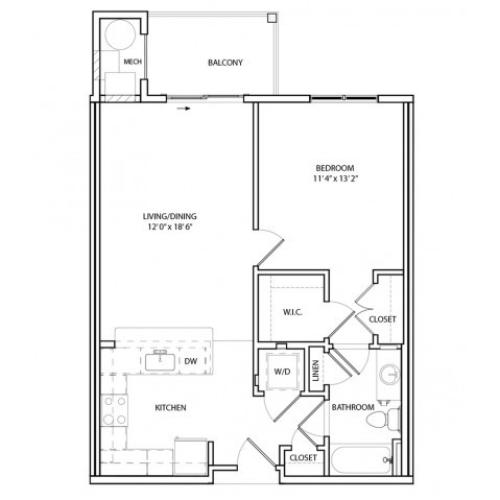 Floor Plan 2 | One, Two,Three Bedroom Apartments in Baltimore | Overlook at Franklin Square