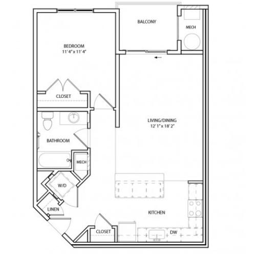 Floor Plan 3 | Luxury Baltimore Apartments | Overlook at Franklin Square