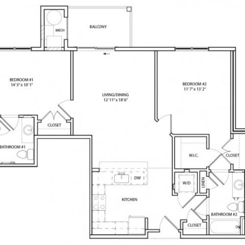 Floor Plan 11 | Luxury Apartments In Baltimore, MD | Overlook at Franklin Square