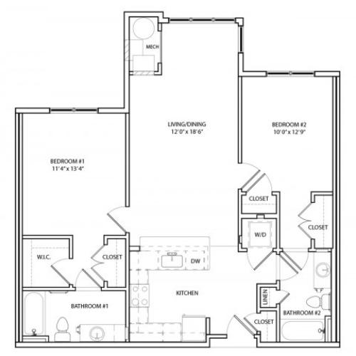 Floor Plan 12 | One, Two,Three Bedroom Apartments in Baltimore | Overlook at Franklin Square