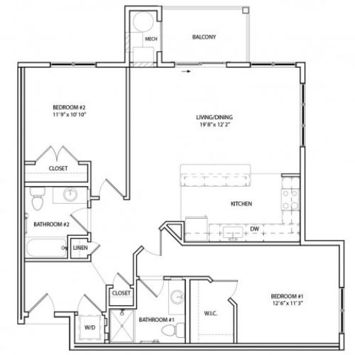 Floor Plan 13 | Luxury Baltimore Apartments | Overlook at Franklin Square