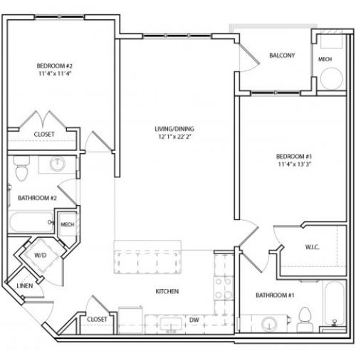 Floor Plan 14 | Apartments For Rent In Baltimore MD | Overlook at Franklin Square