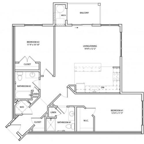 Floor Plan 15 | Apartments Near Baltimore MD | Overlook at Franklin Square