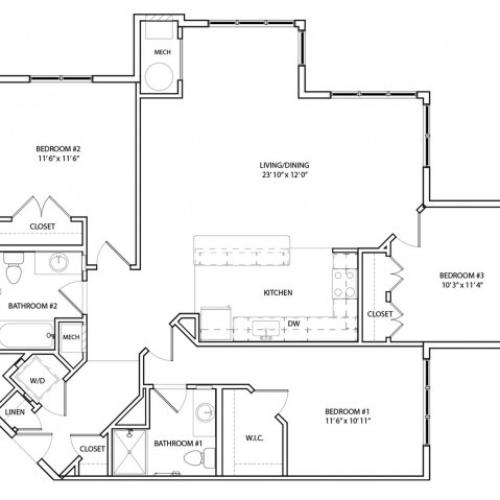 Floor Plan 21 | Luxury Apartments In Baltimore, MD | Overlook at Franklin Square