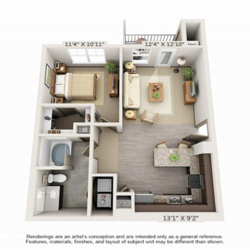 1 Bedroom Floor Plan | Hopkinton Luxury Apartments | Woodview at Legacy Farms