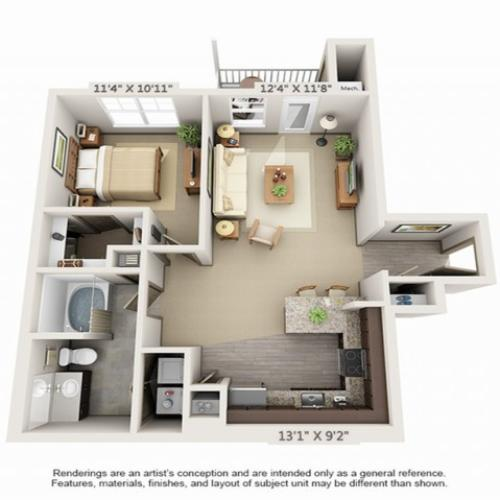 1 Bedroom Floor Plan | Hopkinton Luxury Apartments | Woodview at Legacy Farms 1