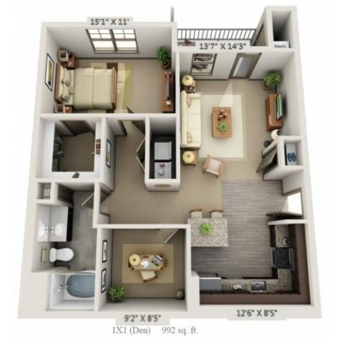 1 Bdrm Floor Plan | Apartments Hopkinton MA | Woodview at Legacy Farms 1