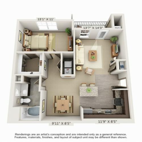 1 Bdrm Floor Plan | Apartments Hopkinton MA | Woodview at Legacy Farms3