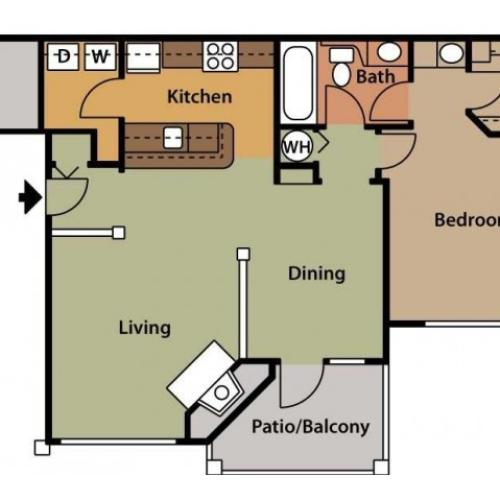 Floor Plan 2 | 2 Bedroom Apartments In Cary NC | Brook Arbor