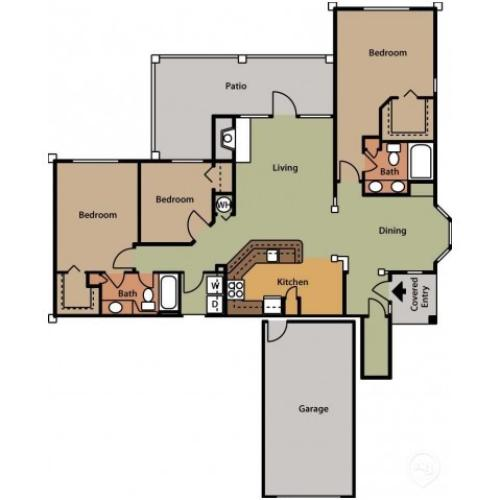 Floor Plan 17 | 2 Bedroom Apartments In Cary NC | Brook Arbor