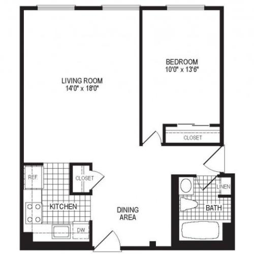 A1A - 1 Bedroom Floor Plan | Apartments in Springfield MA | Stockbridge Court