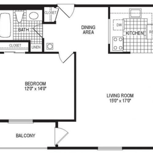 A1B - 1 Bedroom Floor Plan | Apartments in Springfield MA | Stockbridge Court