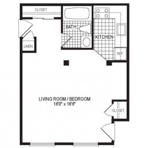 S1B - 1 Bedroom Floor Plan | Apartments in Springfield MA | Stockbridge Court