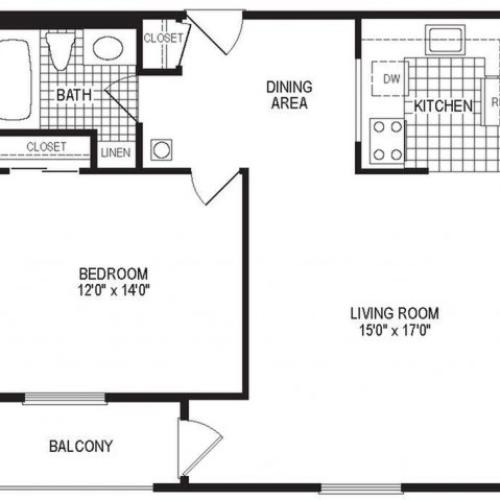 A1BK - 1 Bedroom Floor Plan | Apartments in Springfield MA | Stockbridge Court