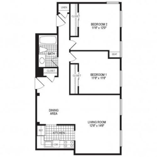 B1A - 2 Bedroom Floor Plan | Springfield MA Luxury Apartmetns | Stockbridge Court