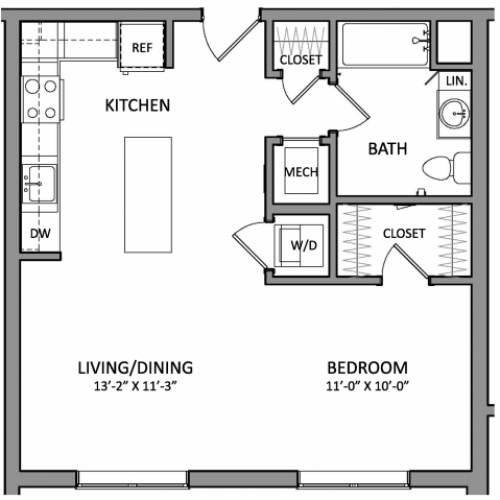 Floor Plan 1 | Beverly MA Apartments | Link 480