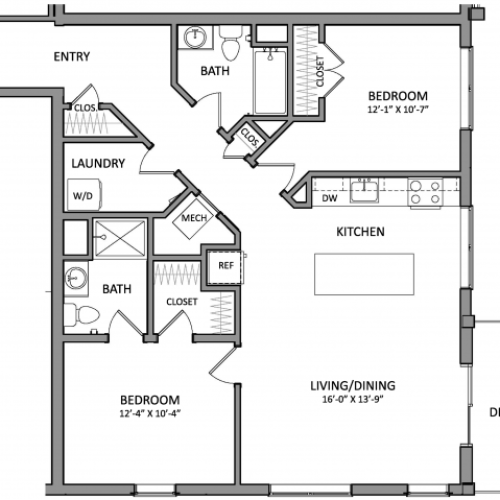Floor Plan 7 | New Apartments Beverly MA | Link 480