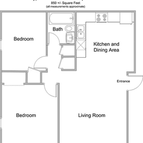 2 Bedroom Floor Plan | Apartment For Rent In Woburn MA | Country Club Garden Apartments