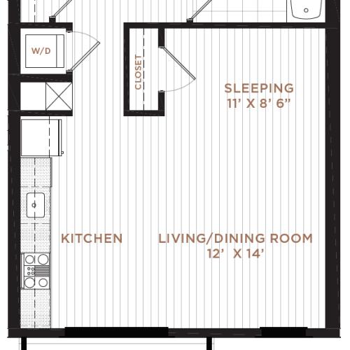 Floor Plan 2 | Studio Apartment Nashua NH | Corsa