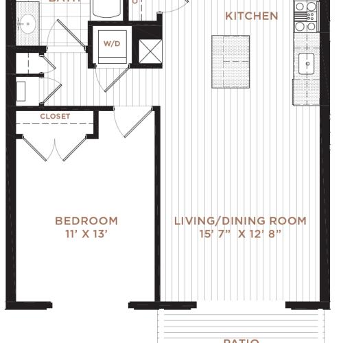 1 Bedroom Floor Plan | Derry NH Apartments | Corsa