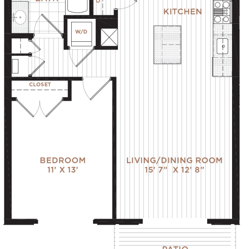 1 Bedroom Floor Plan | Derry NH Apartments | Corsa