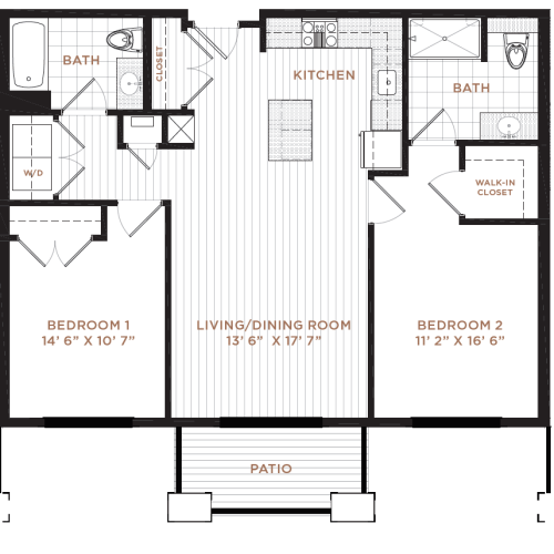 2 Bedroom Floor Plan | Nashua NH Apartments | Corsa