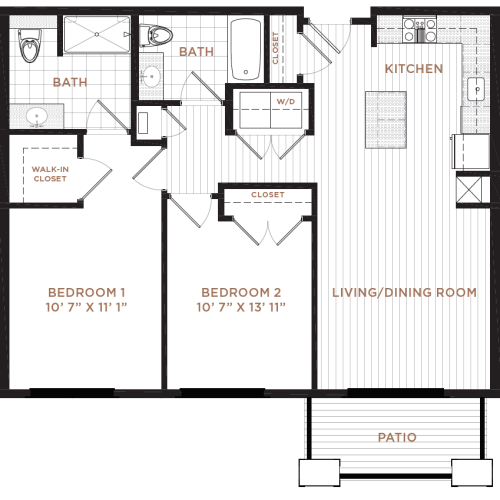2 Bdrm Floor Plan | Apartment In Derry NH | Corsa
