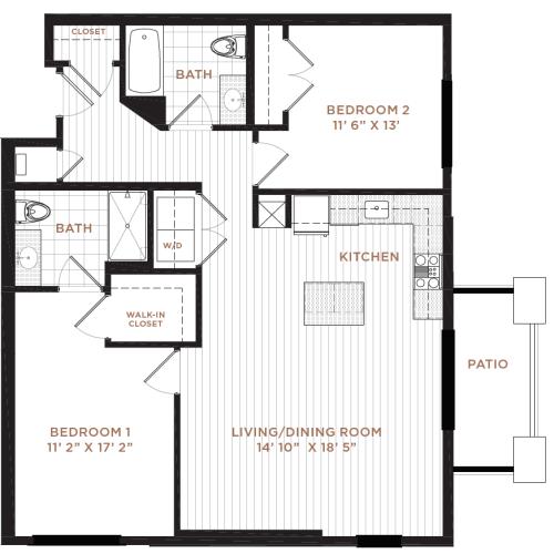 Floor Plan 12 | Studio Apartment Nashua NH | Corsa