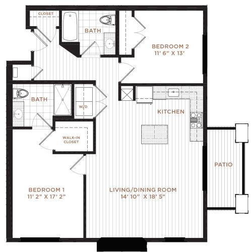 Floor Plan 13 | Nashua NH Apartments | Corsa