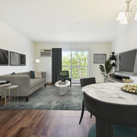 Living room at Kensington at Chelmsford apartments | Chelmsford MA apartments