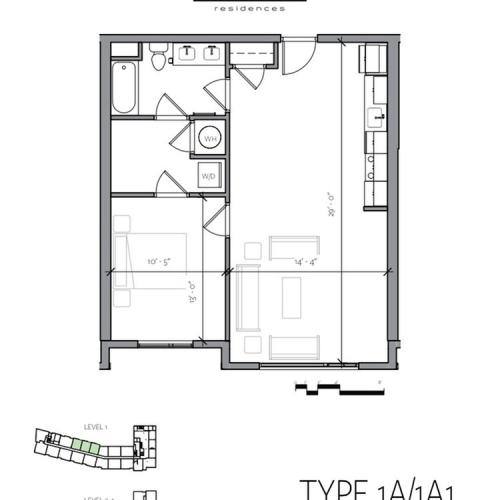 1 Bedroom Floor Plan | Portsmouth NH Luxury Apartments | Veridian Residences