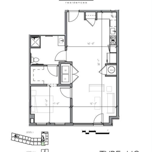 Floor Plan 2 | 1 Bedroom Apartments In Portsmouth NH | Veridian Residences