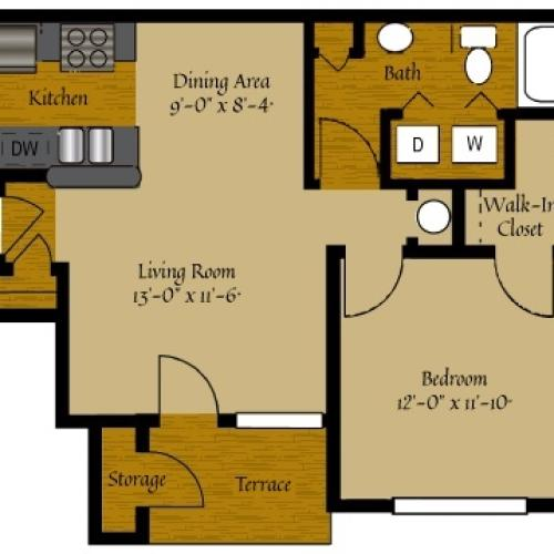 1 Bedroom Floor Plan | Luxury Apartments Raleigh NC | Olde Raleigh