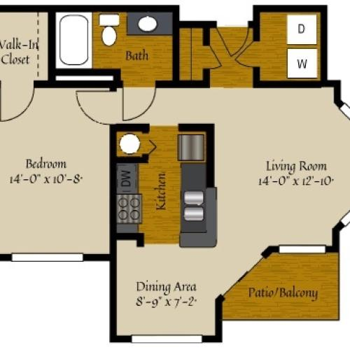 1 Bdrm Floor Plan | Two Bedroom Apartments Raleigh NC | Olde Raleigh