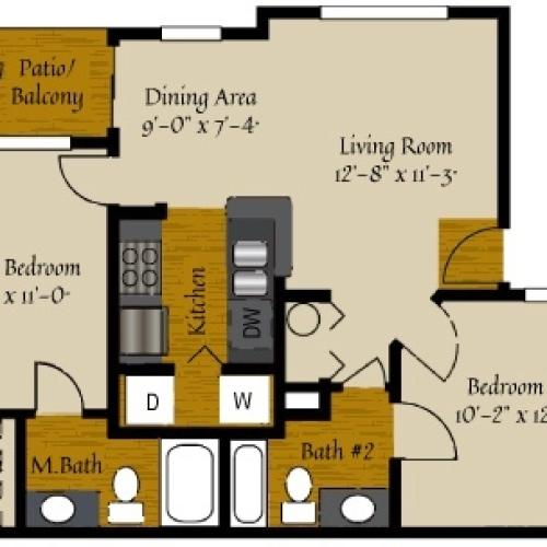 2 Bedroom Floor Plan | Apartments In Raleigh NC | Olde Raleigh