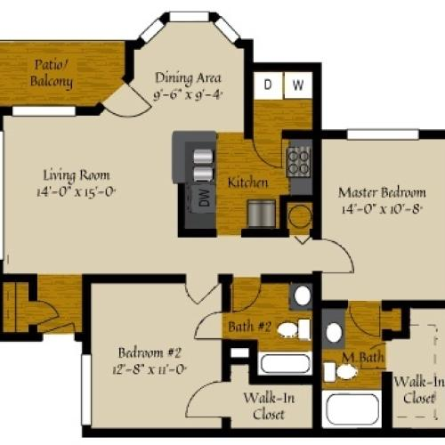 2 Bdrm Floor Plan | Apartments For Rent In Raleigh NC | Olde Raleigh
