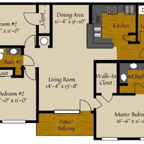 3 Bedroom Floor Plan | Apartments Near Raleigh NC | Olde Raleigh
