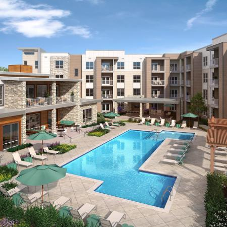 Mave pool and sundeck, apartments in Stoneham