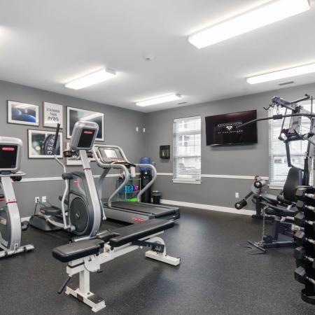 Fitness center at Kensington apartments in Chelmsford MA