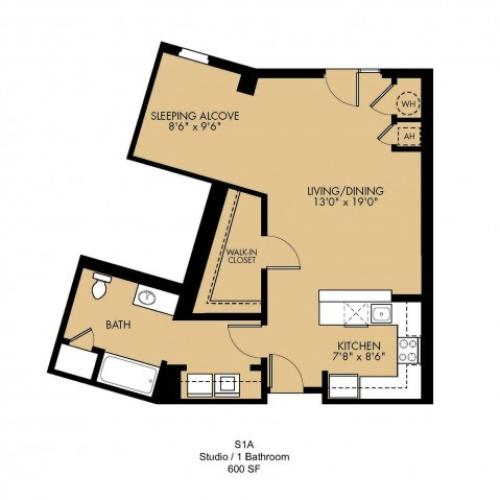 Studio Floor Plan | Malden Ma Apartments | Strata
