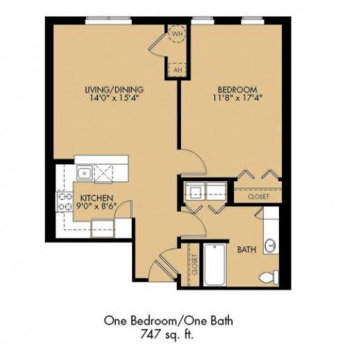 1 Bedroom Floor Plan | Apartments In Malden Ma | Strata