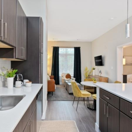 Kitchen and Living Room | The Reserve at Burlington Apartments