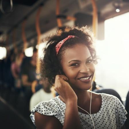 Commuter riding bus