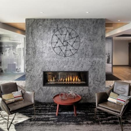 Elegant Fireplace in Clubhouse | Allston Massachusetts Apartments for Rent | TRAC 75