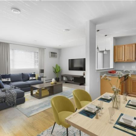 Kitchen and Living Room | Waltham Overlook Apartments