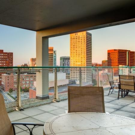roof deck Kendall Square apartments overlooking downtown Boston
